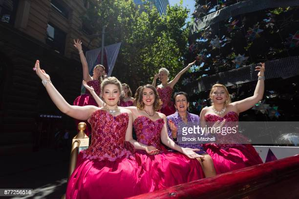 Lord Mayor Clover Moore poses for a photo with the performance group the 7 Sopranos during the City Of Sydney Christmas Launch at Martin Place on...