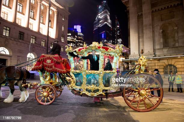 Lord Mayor Elect William Russell soon to become the 692nd Lord Mayor of the City of London rides in the Lord Mayor of London's State Coach drawn by...