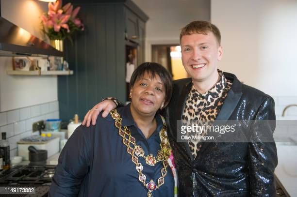 Lord Mayor of Birmingham Councillor Yvonne Mosquito and Joe Lycett at the opening of his new kitchen extension named The Mosquito Wing in her honour...