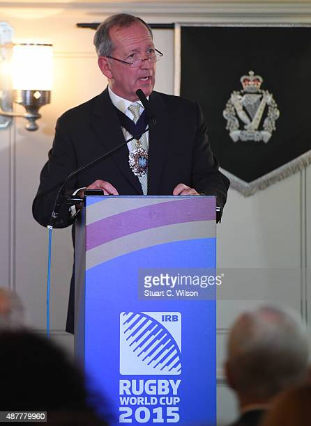 Lord Mayor of London Alan Yarrow speaks during the New Zealand All Blacks Rugby World Cup 2015 Welcome Ceremony at The Tower of London on September...
