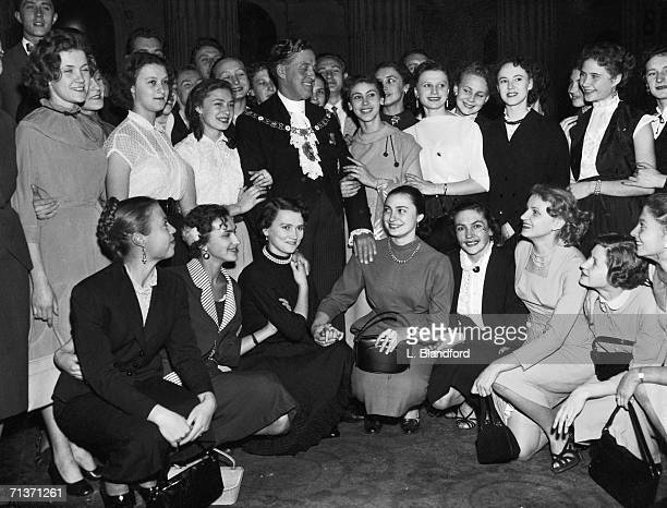 Lord Mayor of London Sir Cuthbert Ackroyd with members of the Bolshoi Ballet during their visit to Mansion House 16th October 1956