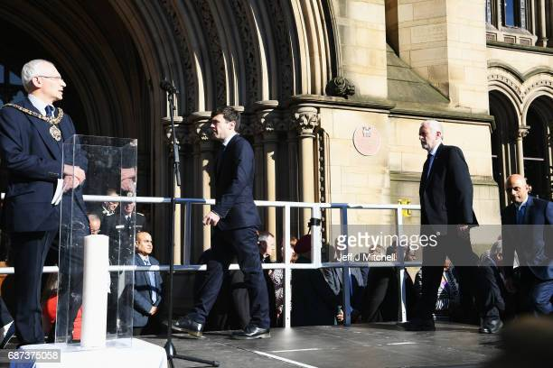 Lord Mayor of Manchester Councillor Eddy Newman Greater Manchester mayor Andy Burnham Labour Leader Jeremy Corbyn and Secretary of State for...