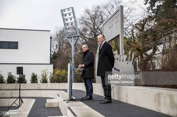 Lord Mayor of Moenchengladbach Hans Wilhem Reiners and President Rolf Koenigs of Borussia Moenchengladbach talk the guests during the opening of the...
