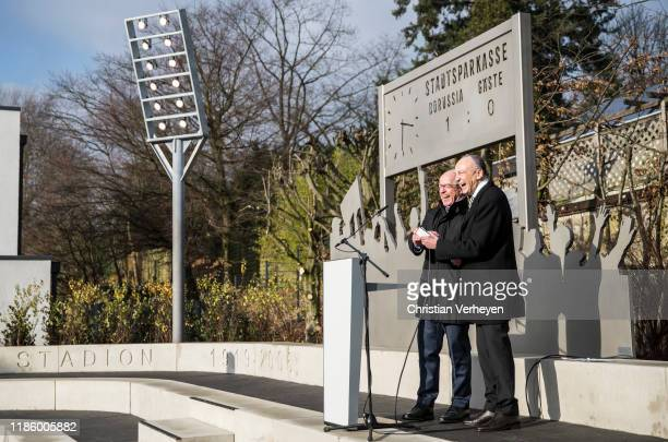 Lord Mayor of Moenchengladbach Hans Wilhem Reiners and President Rolf Koenigs of Borussia Moenchengladbach are seen during the opening of the...
