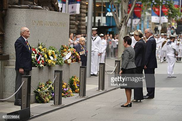 Lord Mayor of the City Clover Moore deputy federal Labor leader Tanya Plibersek and State Opposition Leader Luke Foley pause after laying wreaths...