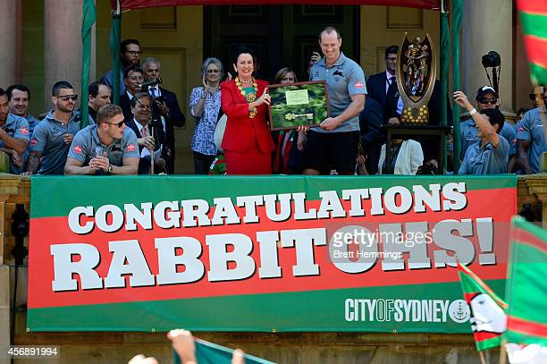 Lord Mayor of the City of Sydney Clover Moore awards Rabbitohs head coach Michael Maguire the keys to the city during a South Sydney Rabbitohs NRL...