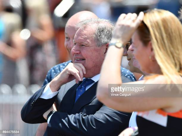 Lord Mayor Robert Doyle is seen watching the races during Melbourne Racing at Caulfield Racecourse on December 16 2017 in Melbourne Australia