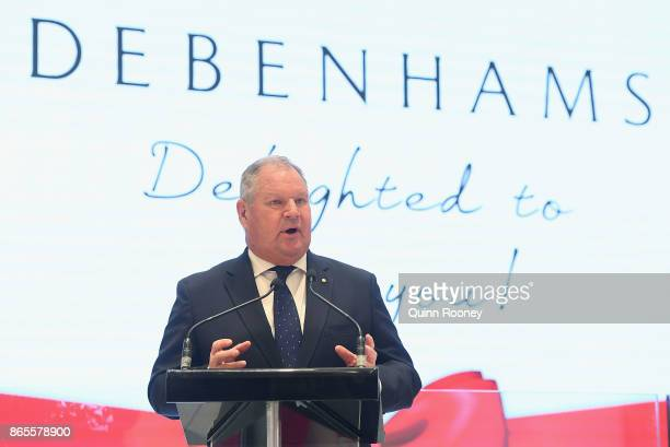 Lord Mayor Robert Doyle speaks at the opening of the first Australian Debenhams store on October 24 2017 in Melbourne Australia The British retailer...