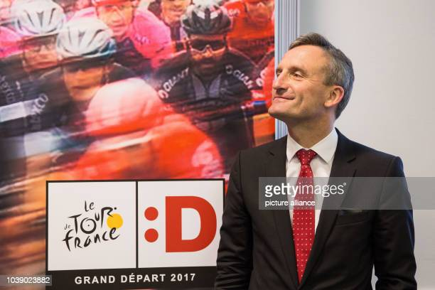 Lord Mayor Thomas Geisel standing at introductory press event for the Bora Argon 18 team for the Tour de France in Duesseldorf Germany 20 June 2016...