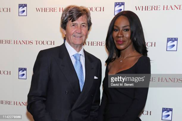 """Lord Melvyn Bragg and Amma Asante attend the London Premiere of """"Where Hands Touch"""" at The Curzon Mayfair on May 8, 2019 in London, England."""