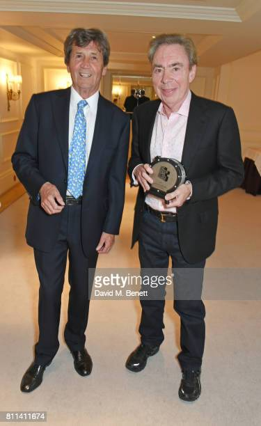 Lord Melvyn Bragg and Lord Andrew Lloyd Webber winner of the Outstanding Achievement Award pose in the winners room at The South Bank Sky Arts Awards...