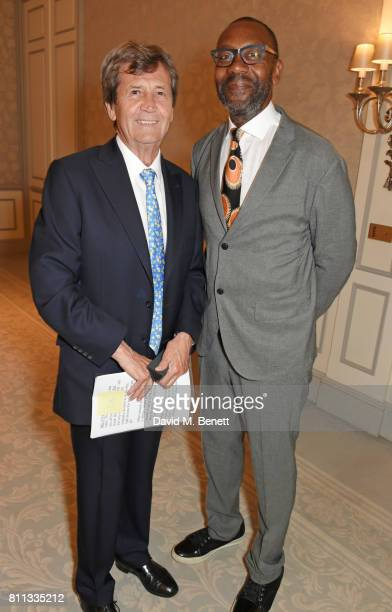 Lord Melvyn Bragg and Sir Lenny Henry attend The South Bank Sky Arts Awards drinks reception at The Savoy Hotel on July 9 2017 in London England