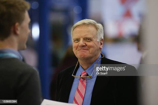 Lord Michael Grade smiles on the second day of the Conservative party conference in the International Convention Centre on October 8 2012 in...