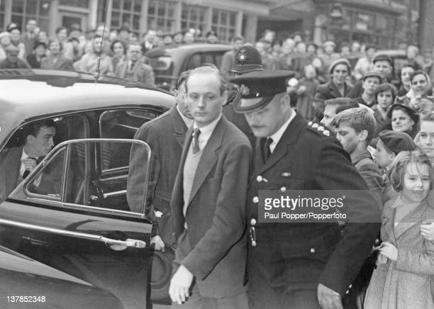Lord Montagu of Beaulieu arrives for a hearing at Lymington Magistrate's Court Hampshire 7th November 1953 Lord Montagu is charged by police with...