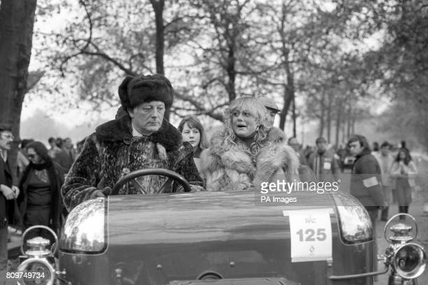 ** Lord Montagu of Beaulieu gets a word of encouragement from his passenger Mary Stavin Miss World as he sets a 1903 Daimler in motion at Hyde Park...
