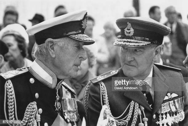 Lord Mountbatten and Air Chief Marshal Sir Anthony Heward attend the unveiling of a statue of Lord Charles Portal Chief of the Air Staff during World...
