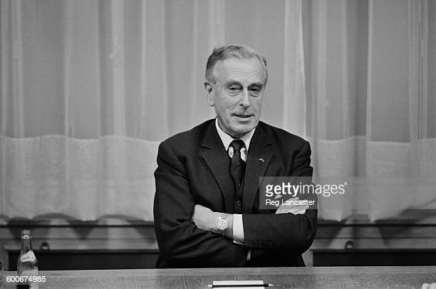 Lord Mountbatten at a press conference in Paris, France, 25th February 1970.