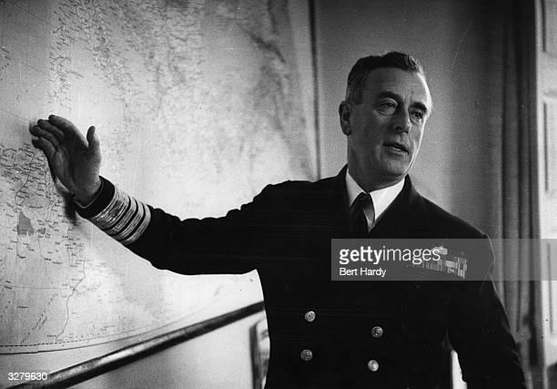 Lord Mountbatten indicating NATO fleet manoeuvres in the Mediterranean Original Publication Picture Post 8734 Mediterranean Fleet Manoeuvres unpub