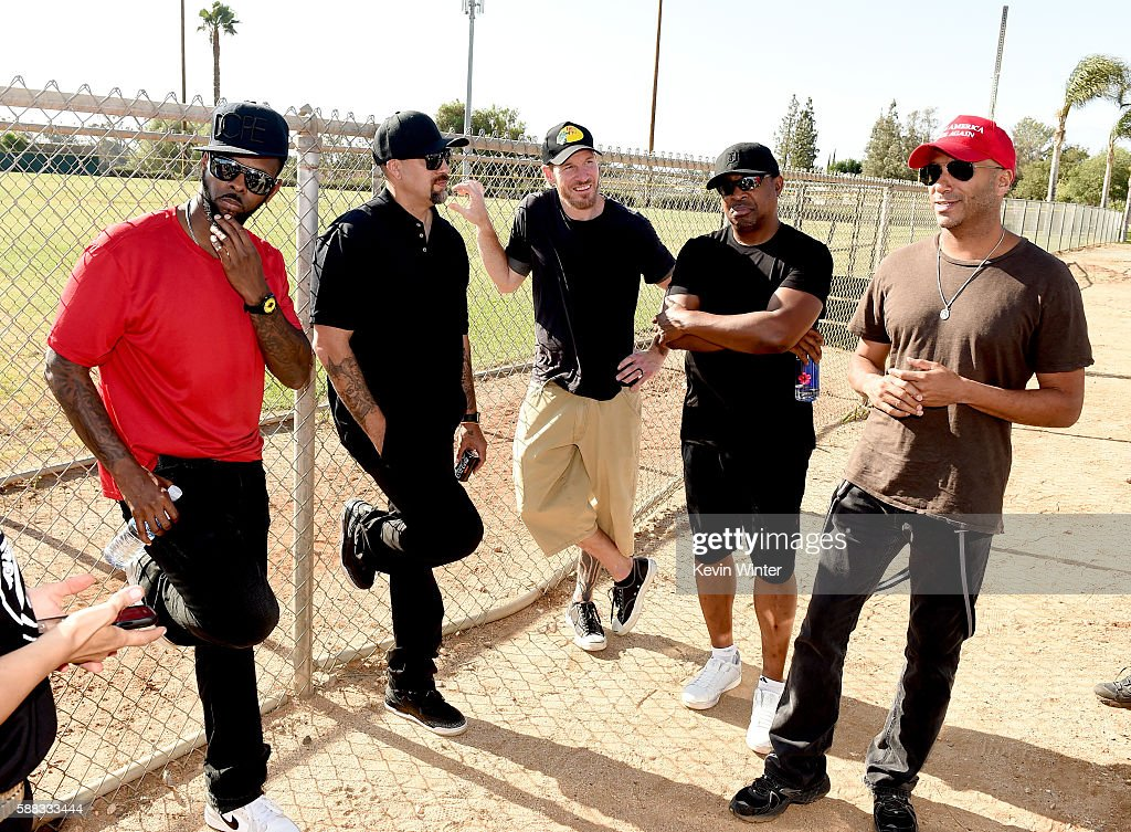 DJ Lord, musicians B-Real, Tim Commerford, Chuck D and Tom Morello of Prophets of Rage pose outside of the California Rehabilitation Center on August 10, 2016 in Norco, California.