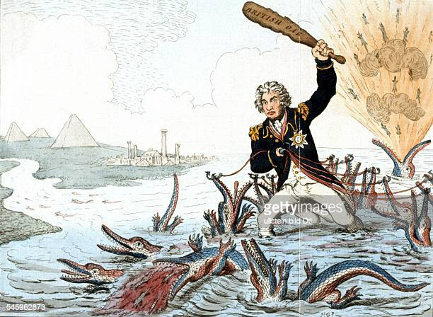 Lord Nelson Caricature Horatio Nelson, 1st Viscount Nelson *29.09.1758-21.10.1805+ Admiral, Great Britain Caricature of Nelson fighting successfully...
