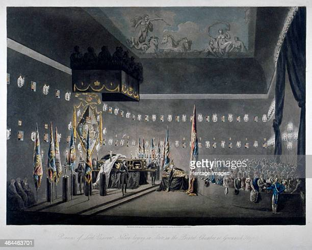 Lord Nelson lying in state in the painted chamber at Greenwich Hospital London 1806