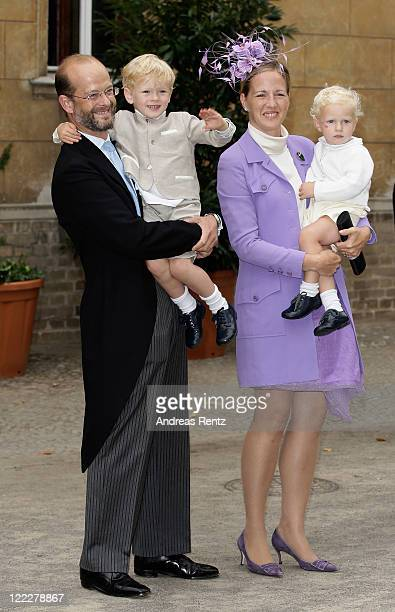 Lord Nicholas Windsor and Lady Nicholas Windsor with kids attend the religious wedding ceremony of Georg Friedrich Ferdinand Prince of Prussia to...