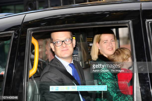Lord Nicholas Windsor his wife and son Louis Windsor arriving for the Queen's Christmas lunch at Buckingham Palace London