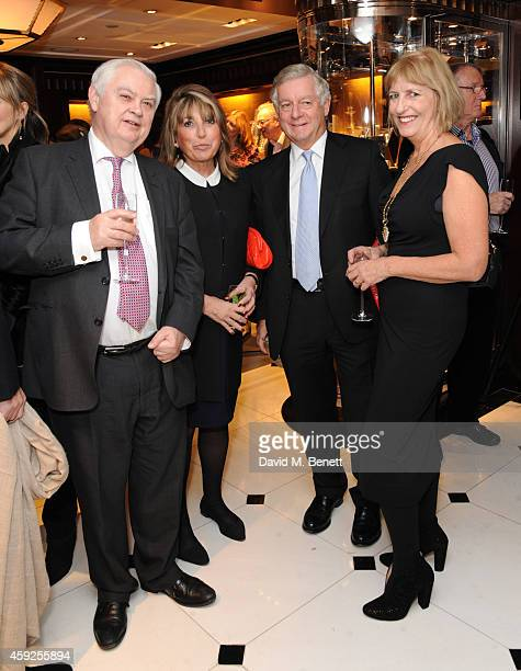 """Lord Norman Lamont, Eve Pollard, Nicholas Lloyd and Nicola Gooch attend the launch of Nicky Haslam's new book """"A Designer's Life"""" at Ralph Lauren on..."""