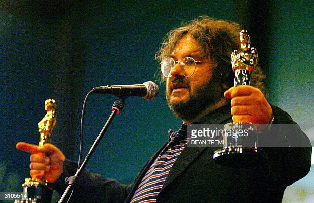 Lord of The Rings director Peter Jackson on stage with his best director and best screenplay Academy Awards in front of the 3000 assembled fans that...