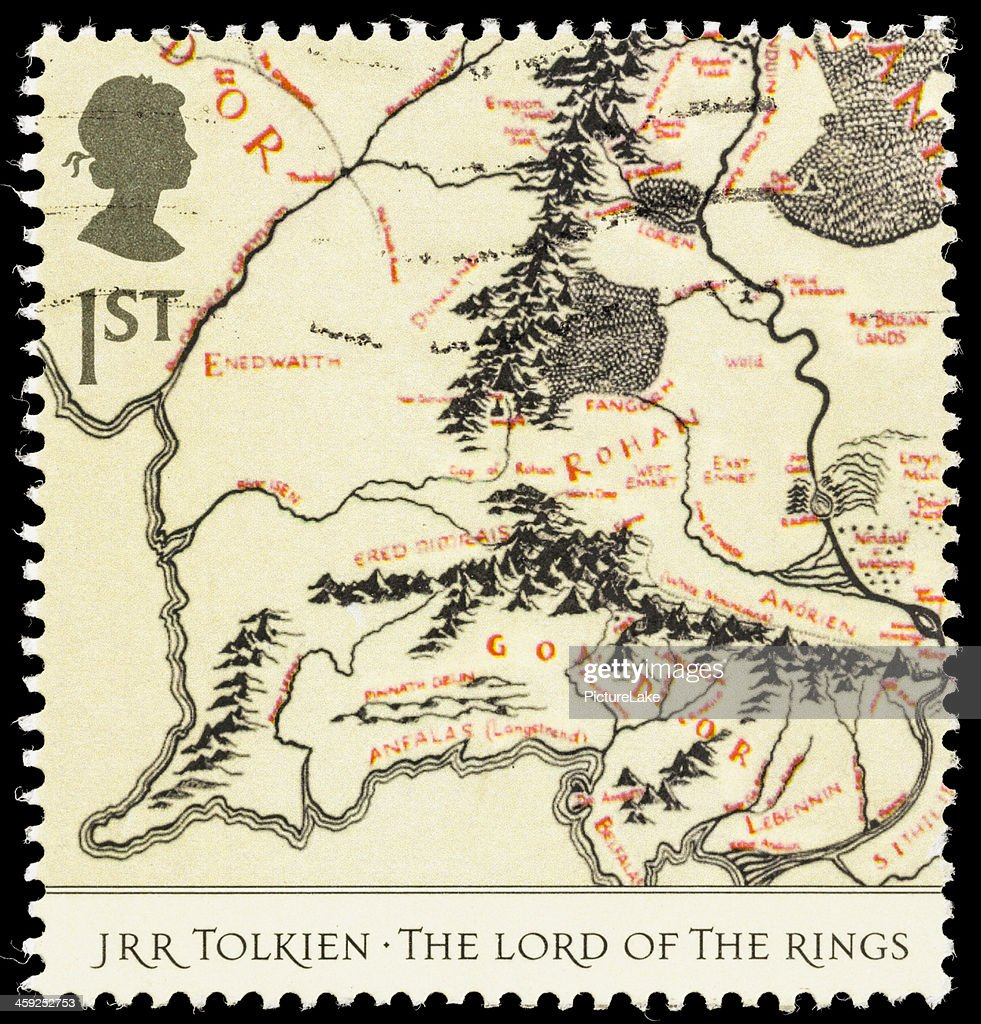 Uk Lord Of The Rings Middleearth Map Postage Stamp Stock Photo