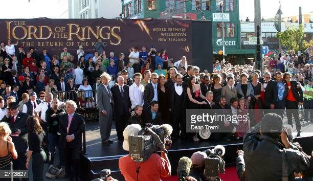 Lord of the Rings stars and crew gather with New Zealand Prime Minister Helen Clark and Mayor of Wellington City Kerry Prendergast during the world...