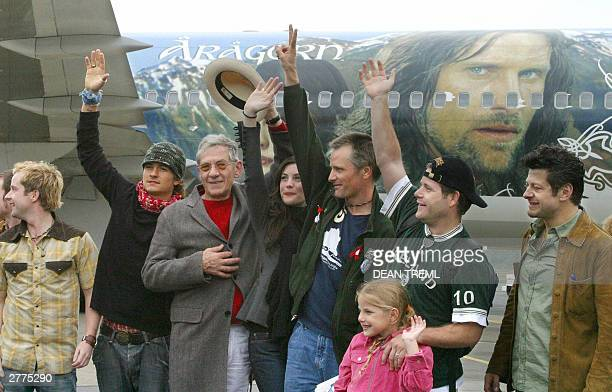 Lord of The Rings stars Billy Boyd Orlando Bloom Sir Ian McKellen Liv Tyler Viggo Mortensen Sean Astin with daughter Ali and Andy Serkis wave at fans...