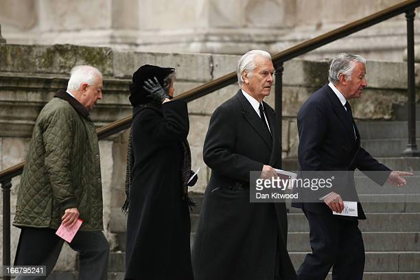 Lord Owen and Baron Steel attend the Ceremonial funeral of former British Prime Minister Baroness Thatcher at St Paul's Cathedral on April 17 2013 in...