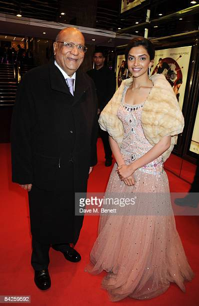 Lord Paul and Deepika Padukone arrive at the UK Premiere of 'Chandni Chowk to China' at the Empire Cinema on January 12 2009 in London England
