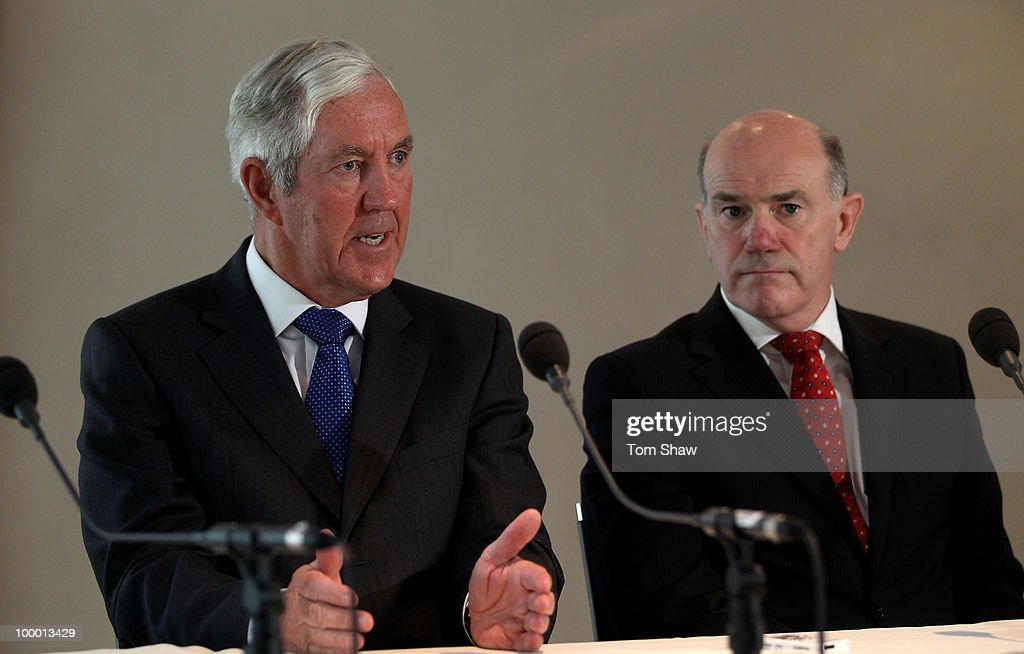 Lord Paul Condon the Chief of the ICC Anti Corruption and Security Unit and his successor Sir Ronnie Flanagan talk to the press during a press conference at Lords on May 20, 2010 in London, England.