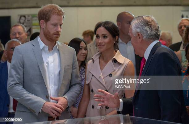 Lord Peter Hain Chair of The Nelson Mandela Centenary Committee accompanies Prince Harry Duke of Sussex and Meghan Duchess of Sussex during a visit...