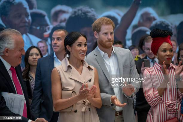 Lord Peter Hain Chair of The Nelson Mandela Centenary Committee accompanies Prince Harry Duke of Sussex and Meghan Duchess of Sussex as they visit...