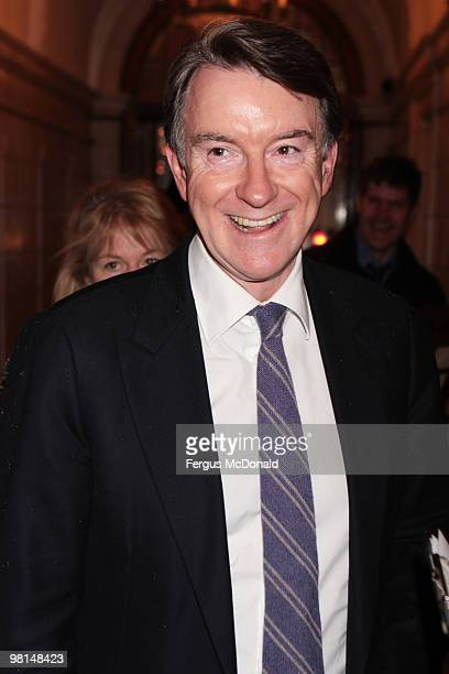 Lord Peter Mandelson arrives at a VIP screening of The Ghost held at The Courthouse Hotel on March 30 2010 in London England