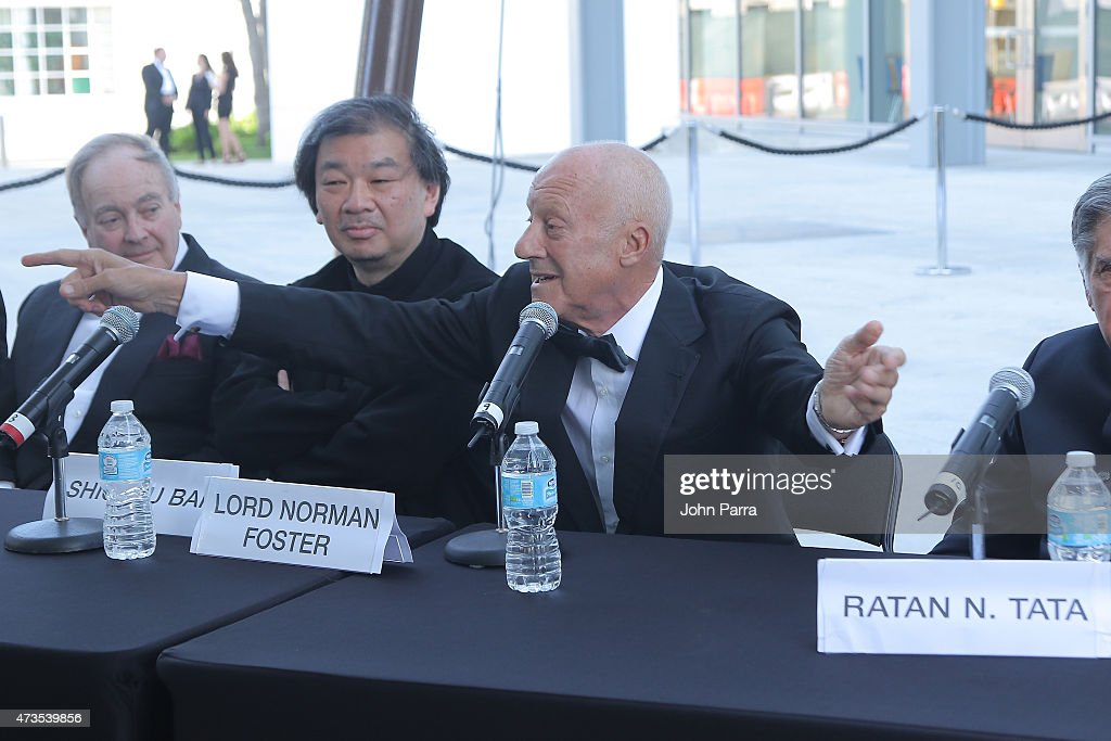 Lord Peter Palumbo, Shigeru Ban and Lord Norman Foster speak during Pritzker Architecture Prize 2015 at New World Symphony on May 15, 2015 in Miami Beach, Florida.