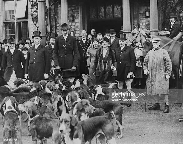 Lord Portman Master of the Taunton Vale Foxhounds leads the meet outside the Castle Hotel in Taunton Somerset 12th January 1934 This is the first...