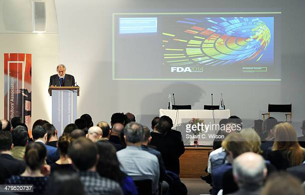 Lord Puttnam speaks to FDA members during his Keynote Speech at the Royal Academy of Engineering on March 19 2014 in London England