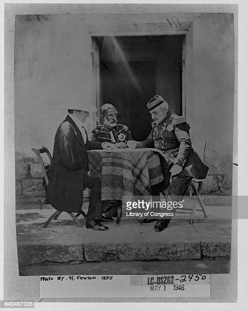 Lord Raglan British commander and field marshal in the Crimean War meets with Marshall AimableJeanJacque Pelissier French commander in chief in the...