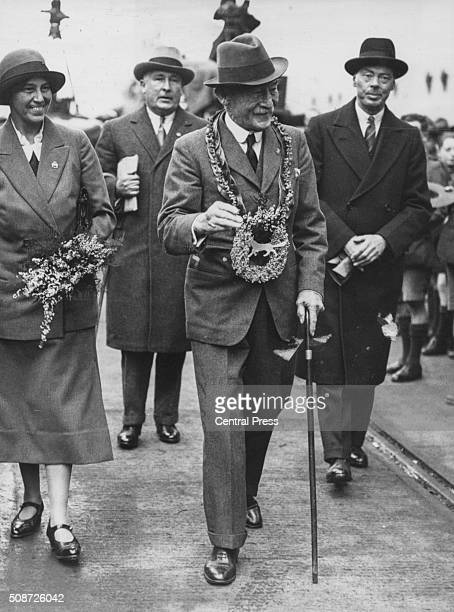 Lord Robert BadenPowell Chief of the Scouts and his wife Lady Olave BadenPowell pictured leaving for a world tour at Tilbury England 1934