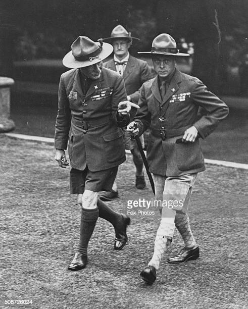Lord Robert BadenPowell Chief of the Scouts with the Prince of Wales wearing a scout uniform 1929