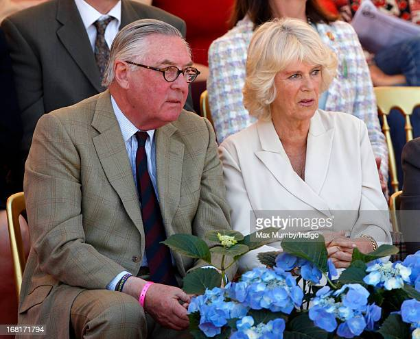 Lord Samuel Vestey and Camilla Duchess of Cornwall watch the show jumping phase of the Badminton Horse Trials on May 6 2013 in Badminton England