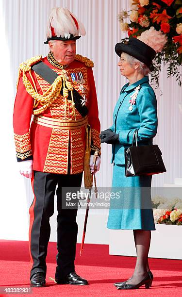 Lord Samuel Vestey, Master of the Horse and Mary Bayliss, Lord Lieutenant of Berkshire attend the ceremonial welcome for Irish President Michael D...