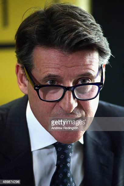 Lord Sebastian Coe addresses the media as he unveils his IAAF Presidential Campaign Manifesto at the British Olympics Association offices on December...
