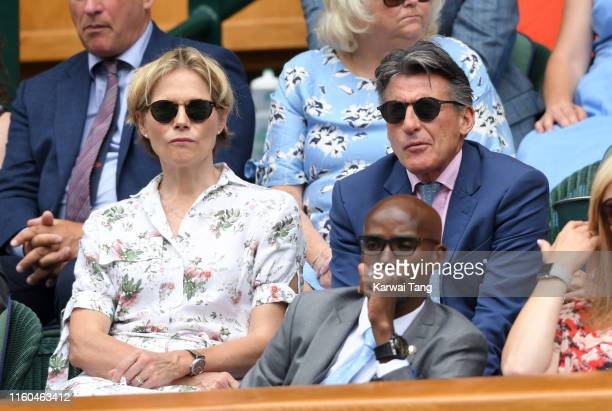 Lord Sebastian Coe and Carole Annett attend day six of the Wimbledon Tennis Championships at All England Lawn Tennis and Croquet Club on July 06 2019...