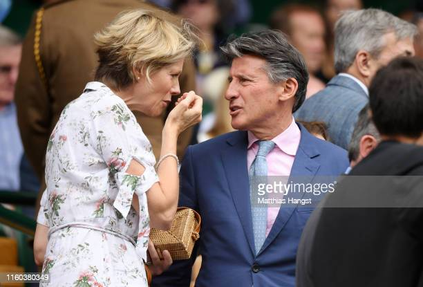 Lord Sebastian Coe and his wife Carole Annett make their way to their seats in the Royal Box during Day six of The Championships Wimbledon 2019 at...