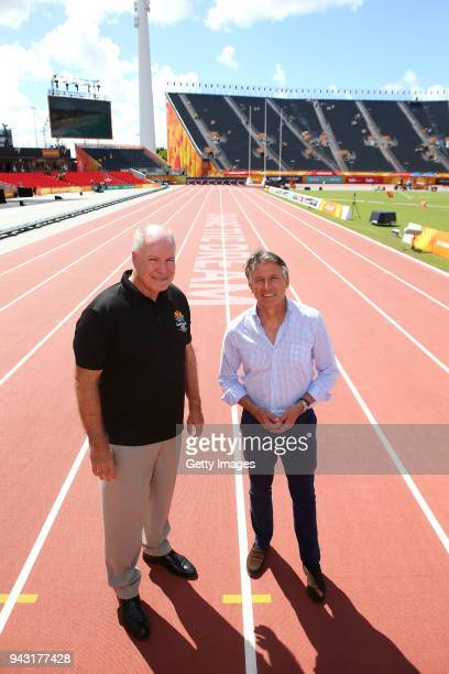 Lord Sebastian Coe and Mark Peters Chief Executive Officer of the Gold Coast 2018 Commonwealth Games Corporation inspect the track during day four of...